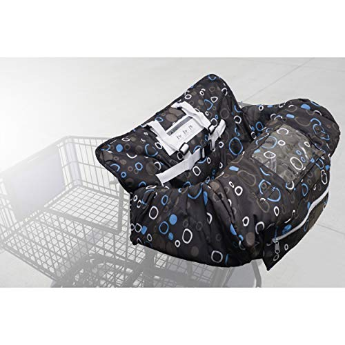 Fitted Shopping Cart Seat Cover – Dual Purpose High Chair Cover and Grocery Cart Liner Defends Against Dirt and Debris – Soft Cotton Construction Best for Baby Comfort Universal Fit