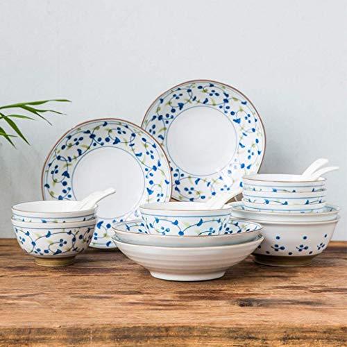 ZJZ Juegos de vajilla de cerámica, 36 Piezas, Juego de vajilla de Porcelana de Simplicidad Retro, Cuenco, Cuchara y Plato para reuniones Familiares, Apto para microondas