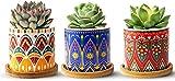 FairyLavie Vasi per Piante Piccoli in Ceramica 9 cm, Vaso Piante Grasse in Motivo Mandala Fioriera Vaso da Fiori con Vassoio in bambù, Perfetto per Arredamento Ufficio Casa, Set di 3