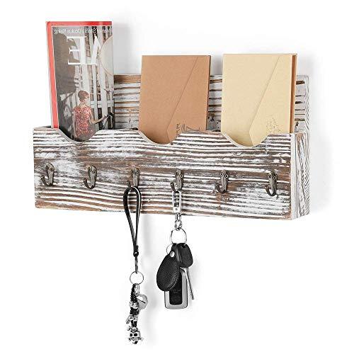 Schlüsselbrett mit Briefablage aus Holz mit 6 Schlüsselhaken für Briefen, Notizen, Schlüssel, rustikal braun