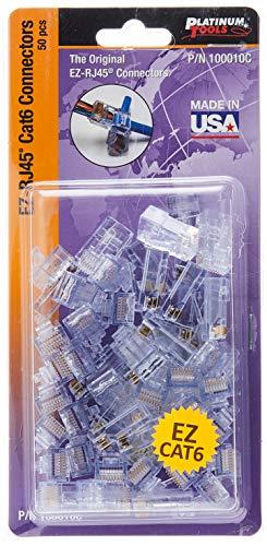 Platinum Tools 100010C EZ-RJ45 Cat 6+ Connectors, Clamshell, 50-Pieces