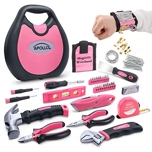 Apollo 72 Piece Home DIY Ladies Pink Tool Kit Set in a Handbag Case. All Purpose Hand Tools Set for DIY Household Repair & Decorating - A Practical House-Warming Gift Idea