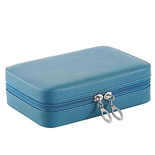 FACHA Joyero de cuero unisex con cremallera portátil para viajes, joyas, collar, pendientes, anillo (color: A, tamaño: 16,5 x 11,5 x 5 cm)