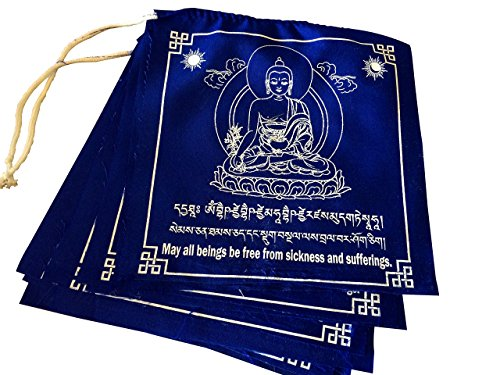 Hands Of Tibet Tibetan Prayer Flags Large Solid Blue Color Medicine Buddha Healing Flags Free Copy righted Handmade Paper Prayer Flags