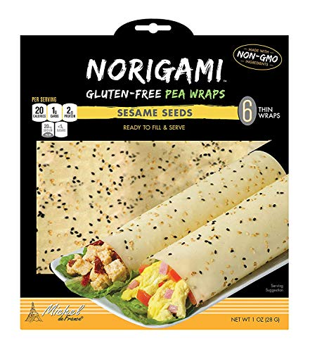 Norigami Egg Wraps Pea Protein - High Protein,Low Carb,Vegetarian Thin Healthy Wrap for Sandwiches-Ready To Fill And Serve-Certified Kosher,Non GMO,Gluten Free -6 Wraps Pea Wrap Sesame Seeds (2 Packs)