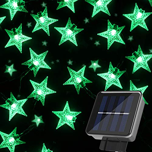 String Lights Solar Powered 7M 50LED Star Shaped Waterproof Decorative Glowing Lighting for Outdoor Garden Wedding St. Patricks Day - Green