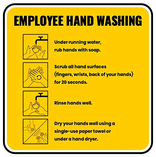 Employee Hand Washing Sign - Made of PVC - with Double Sided Tape - Unique Design - Ensures Safety from CoronaVirus, COVID-19 Precaution