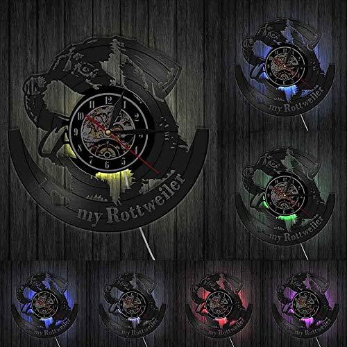 hxjie Amo l'orologio da Parete Rottweiler Orologio da Parete Rottweiler Artista Decorazione della casa Cane Tedesco Razza...