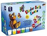 Feuchtmann 628.0517 - Kinder Soft Knete Basic Maxi, 12 teilig, Modellierspiel 3+, 6 Dosen Knete à ca. 150 g, bunt, inkl. Ausstechern und Modellierwerkzeugen, für kreatives Spielen