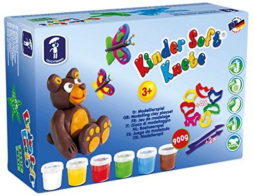 Feuchtmann 628.0517 - Kinder Soft Knete, buntes Maxi-Set, 12 teilig, lufttrocknende Modelliermasse für Kinder ab 3 Jahren, 4 Dosen à ca. 150 g, inkl. Ausstechern und Modellierwerkzeugen