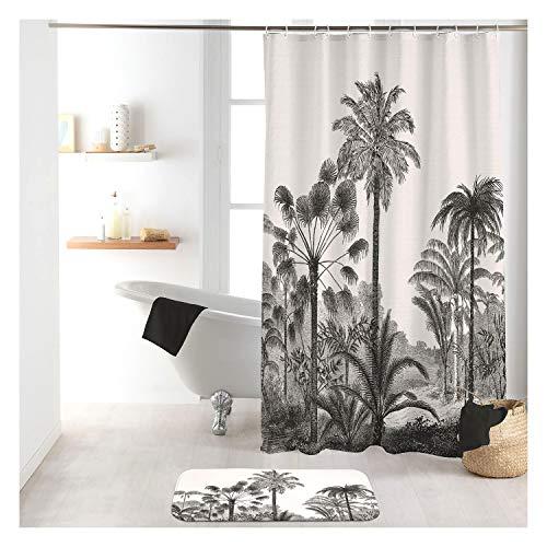 Sanixa Cortina de ducha textil, 180 x 200 cm, gris, negro, palmeras,...