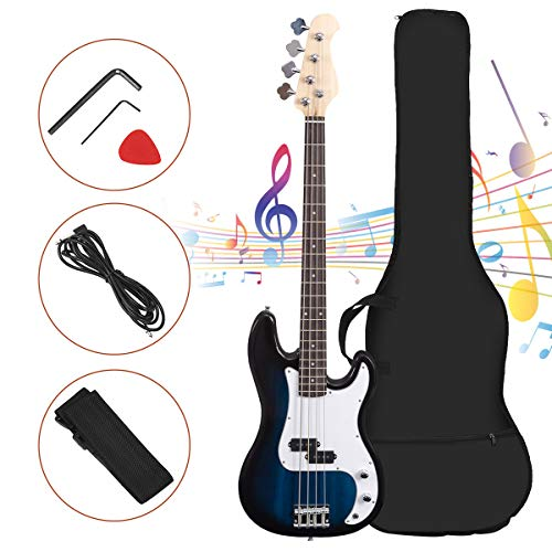Full Size 4 String Electric Bass Guitar, Safeplus Rosewood Polished Electric Guitar with Bag, Strap, Pickup, Amp Cord for Beginners (Blue)