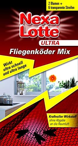 Nexa Lotte Ultra Fliegenköder Mix, zum Bekämpfen von Fliegen, Stubenfliegen und anderen Insekten am Fenster, Sofort- und Langzeitwirkung, 2x Blumen Motiv und 6 dezente, transparente Streifen