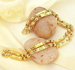 جويفيك سلسلة فولاذية مطلية بالذهب 18 قيراط للنساء ذهب ومرصعة بخرز مجوهرات للرجال