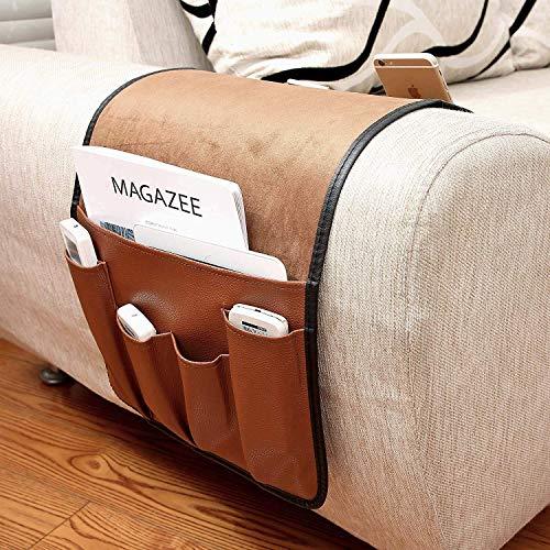 Sofa Armlehne Organizer Betttasche PU Leder Couch Stuhl Aufbewahrungstasche Anti-Rutsch Nachttisch Tasche Sofa-Bett Hängeaufbewahrung für Buch, Zeitschriften, Handy, Fernbedienung