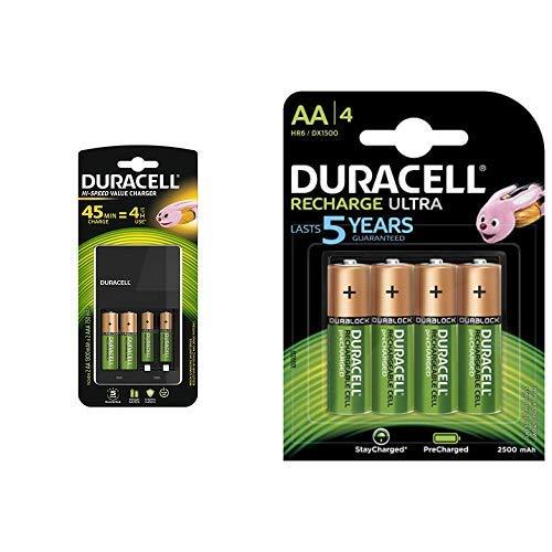 Duracell Ladegerät mit 4Stunden, 1Zählen &  Ultra HR6DX1500 Akkus mit geringer Selbstentladung (2500mAh) 4er Pack