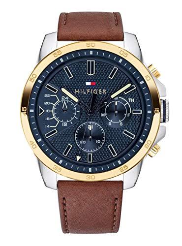 Tommy Hilfiger heren multi-wijzerplaat kwarts horloge met lederen armband 1791561