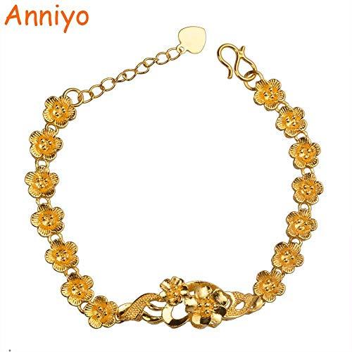 NCDFH Stilvolle Blumen Armbänder für Frauen/Schulmädchen Gold Farbe Afrikaner/Araber Charme Armreif Schmuck Geschenke 17cm addieren 3,5cm