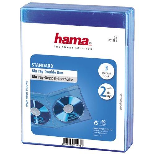 Hama Blu-ray-Doppelhülle (Auch passend für CDs und DVDs, Mit Folie zum Einstecken des Covers) blau