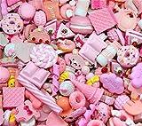 Sortiert 30 Stück Cute Candy Perlen Fruit Dessert EIS Kunstharz Charms Scheiben Flache Tasten für Handwerk Zubehör Scrapbooking Telefon Fall Decor, Babyrosa, 10mm-25mm