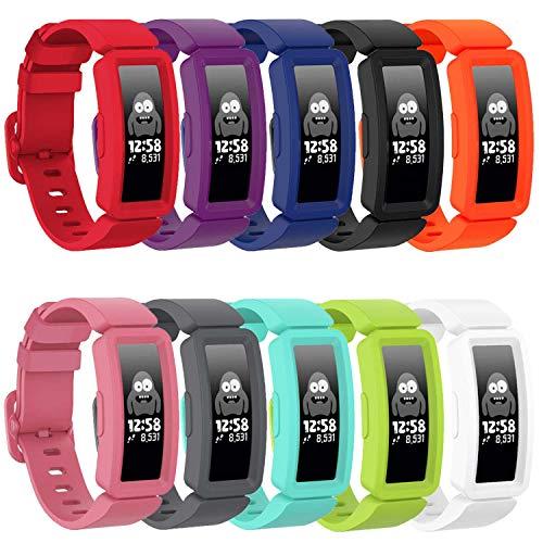 TopPerfekt - Cinturino compatibile con Fitbit Ace 2 per bambini dai 6 anni in su, in morbido silicone, impermeabile, per ragazzi e ragazze, compatibile con Fitbit Ace 2 (10 colori/1)