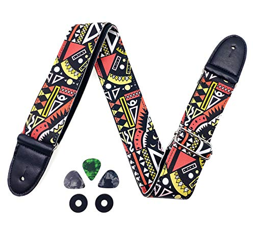 Leather Guitar Strap Personalized Bass Guitar Strap with 2 Strap Locks and 3 Picks (Red)