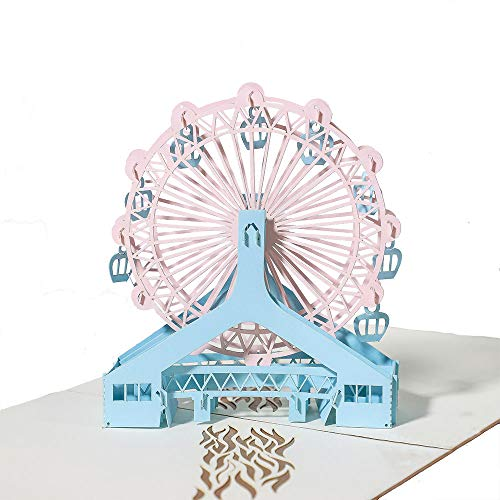 3D Pop Up Baby Shower Birthday Card Blue Boy Ferris Wheel Congrats Greeting Cards for Newborn Babies New Parents Gifts