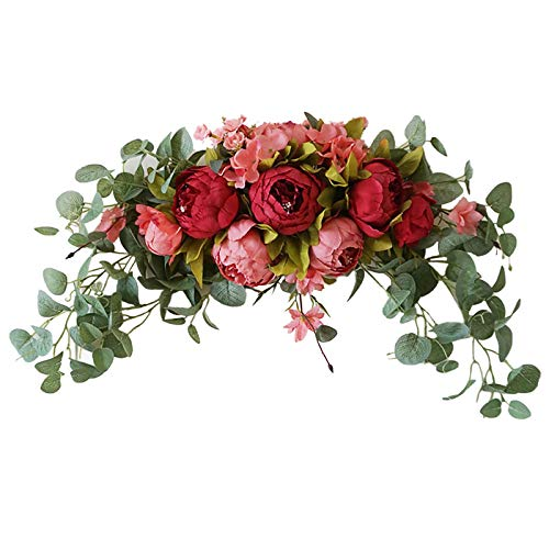 Firlar 30 Inch Decorative Floral Swag, Wedding Artificial Peony with Green Leaves Swag, Front Door Peony Floral Arch Garland Swag for Wedding Party Home Decor.