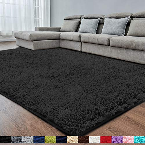 Black Super Soft Area Rug for Bedroom,8x10,Fluffy Rugs,Shag Rugs for...