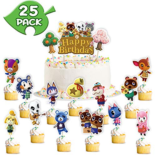 Animal Happy Birthday Cake Topper Cupcake Topper Cake Decor Party Supplies Decor for Kids Adults Cartoon Animal Theme Birthday Party Baby Shower Wedding Video Game Cupcake Topper