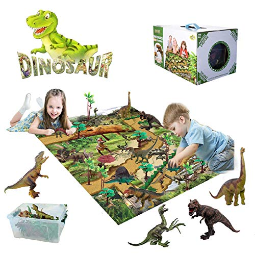 Dinosaurier Spielzeug Set,Figur Dinosaurier mit Spielmatte & Bäume,Realistisches Dinosaurier Set für Jungen,...