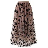 OutTop Long Skirts for Women Swing Floral Print Tulle Skirt Elastic Waist Loose Elegant Pleated Maxi Skirt Dresses (Coffee, L)
