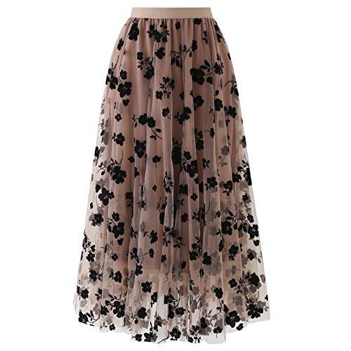 JERFER abbigliamento Gonne Lunghe Maxi con Spacco Laterale Vintage fluide in Chiffon a Vita Alta Sexy da Donna