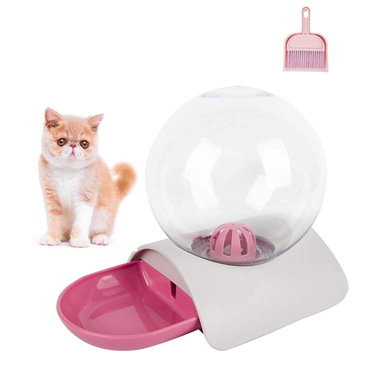 クローゼットカナダ子供達ペット用給水器 水飲み器 自動給水器 ウォーターディスペンサー 自動補水 ダブルフィター 大/中/小型猫用 犬用 綺麗な外観 使用便利 健康 衛生 安全 掃除道具付け(ピンク)