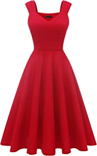 Dresstells Damen 1950er Midi Rockabilly Kleid Vintage V-Ausschnitt Hochzeit Cocktailkleid Faltenrock