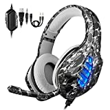 EasySMX PS4 Gaming Headset, Cuffie da Gioco LED con Microfono da 3,5 mm, cancellazione del Rumore, Compatibile con Xbox One, telefoni cellulari, Tablet e PC Portatile