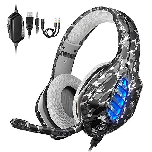 EasySMX PS4 Gaming Headset, LED Noise Cancellation Stereo Gaming Headset mit Mikrofon 3,5mm, Kompatibel mit Neue Xbox one,Mobile Phones, Laptop Tablet und PC, MEHRWEG