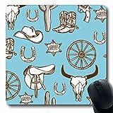 Alfombrilla de ratón Oblong Dibujado a mano Símbolo de pistola Bota salvaje Oeste Diseño retro Vaquero occidental Texturas de estrellas Vagón Objetos Azul Goma antideslizante Alfombrilla de ratón Orde