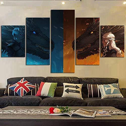 CVBGF Impresión sobre lienzo, 5 piezas de murales de lienzo, juego de tronos, dragón Daenerys – Póster de película para recámara, sala de estar, decoración del hogar, lienzo, marco de madera