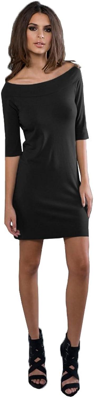Blanks Women's Spandex Jersey 3 4 Sleeve Boatneck Dress