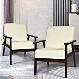 Giantex Mid-Century Modern Accent Chair, Retro Fabric Armchair w/Tufted Back, Solid Hardwood Made, Upholstered Linen Lounge Arm Chair for Living Room (2, Beige)