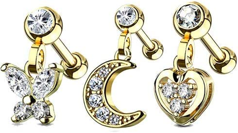 MoBody 16G 3 Pack Clear CZ Jeweled Dangle Butterfly Moon Heart Tragus Earring Surgical Steel Cartilage Helix Piercing Stud