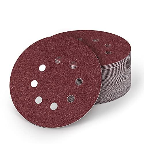 125mm Discos de Lija, 50 Piezas Papeles de Lija Abrasivos con 8 Agujeros, Durable para Lijadora Excéntrica, Seco, Cambio Rápido(80/120 Granos)