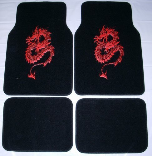 - Dragon Red Front & Rear Carpet Car Truck SUV Floor Mats