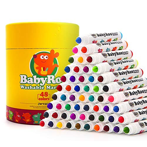 Jar Melo washable Markers Set;Non-Toxic ;48 Count;Broad Line Markers for School, Art Suppliers for Toddler, Classic Colors