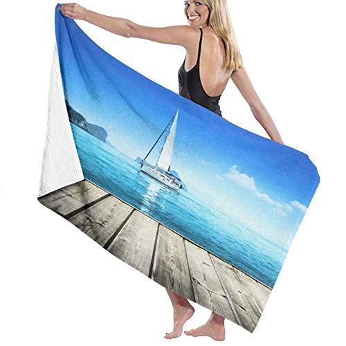 Toalla de Playa de Microfibra de Secado rápido, náutica, yate de Cubierta de Madera Horizon Sere, Toalla Suave y Liviana para Acampar, Viajar, Nadar en la Playa, Yoga, Gimnasio, 52 'x 32'