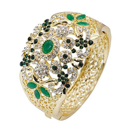 Armband,Indische Hochzeit Armreif Gold Für Frauen Farbe Dubai Damen Blume Manschette Schmuck Marokko Ethnischen Armband Grün