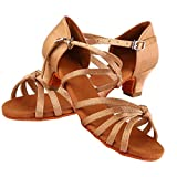 Zapatos de Baile Latino Niña,Calzado de Baile Suave y Cómodo Zapatillas de Baile de Salón Zapatos de Baile de Moda de Tacón para Niños y Niña, Marrón (34-Marrón Claro)