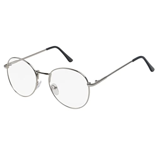 b12f1fcddf Simvey Retro Round Oversized Prescription Metal Eyeglasses Frame Clear Lens  Glasses