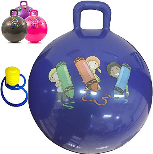 DROZIP Inflatable Sit and Bounce Rubber Hop Ball for Kids with Foot Pump Space Hopper Jump N Bounce Handle Ride-on Toy Bouncy for Kids, Hopping Ball for Kids, Jump Ball, Ball for Kids (65 cm)